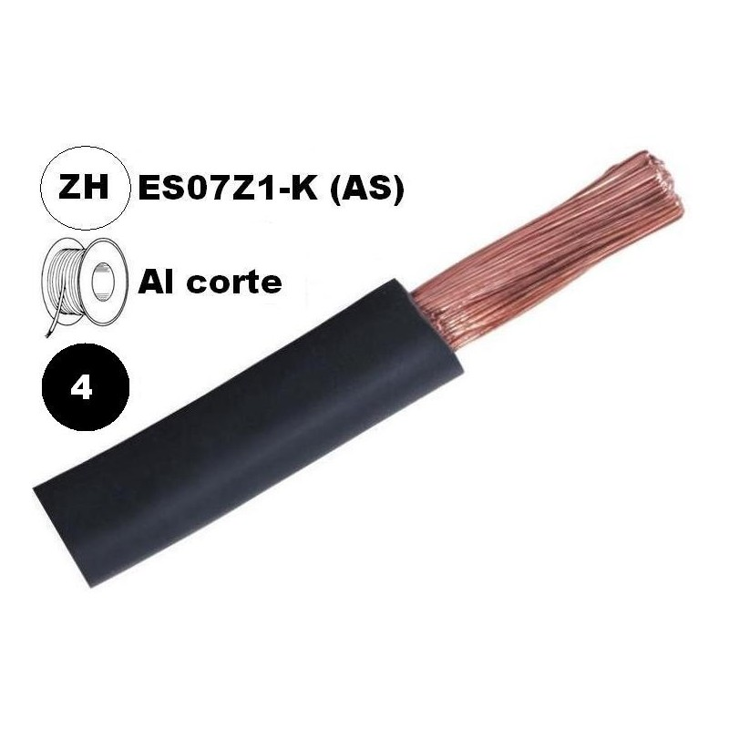 Cable flexible 1x4mm2 negro libre halogenos 750v Al Corte