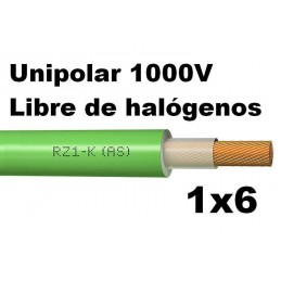 Cable 1000V 1x6mm2 flexible libre halogenos RZ1-K AS
