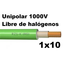 Cable 1000V 1x10mm2 flexible libre halogenos RZ1-K AS