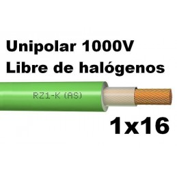 Cable 1000V 1x16mm2 flexible libre halogenos RZ1-K AS