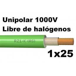 Cable 1000V 1x25mm2 flexible libre halogenos RZ1-K AS