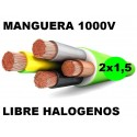 Manguera 1000v 2x1.5mm2 flexible libre halogenos RZ1-K AS 0,6/1KV Al Corte