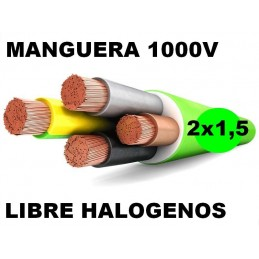 Manguera 1000v 2x1.5mm2 flexible libre halogenos RZ1-K AS 0.6/1KV Al Corte