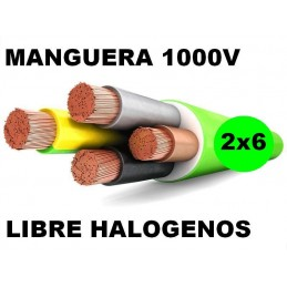 Manguera 1000v 2x6mm2 flexible libre halogenos RZ1-K AS 0,6/1KV Al Corte