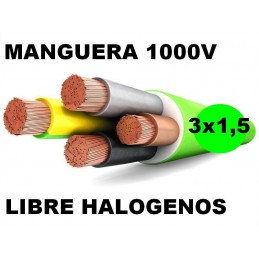 Manguera 1000v 3x1.5mm2 flexible libre halogenos RZ1-K AS 0,6/1KV Al Corte