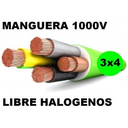 Manguera 1000v 3x4mm2 flexible libre halogenos RZ1-K AS 0.6/1KV Al Corte