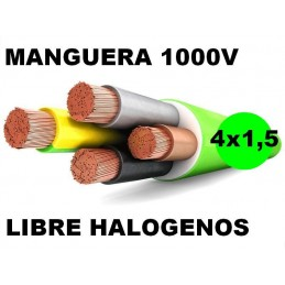 Manguera 1000v 4x1.5mm2 flexible libre halogenos RZ1-K AS 0,6/1KV Al Corte
