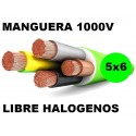 Manguera 1000v 5x6 flexible libre halogenos RZ1-K AS 0,6/1KV Al Corte