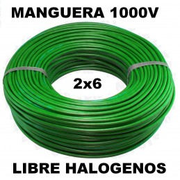 Manguera 1000v 2x6mm2 flexible libre halogenos RZ1-K AS 0.6/1KV 100 Metros