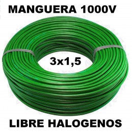Manguera 1000v 3x1.5mm2 flexible libre halogenos RZ1-K AS 0,6/1KV 100 Metros