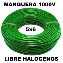Manguera 1000v 5x6mm2 flexible libre halogenos RZ1-K AS 0,6/1KV 100 Metros