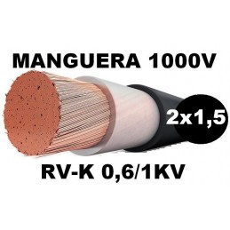 Manguera 1000v 2x1.5mm2 flexible pvc RV-K 0.6/1KV Al Corte