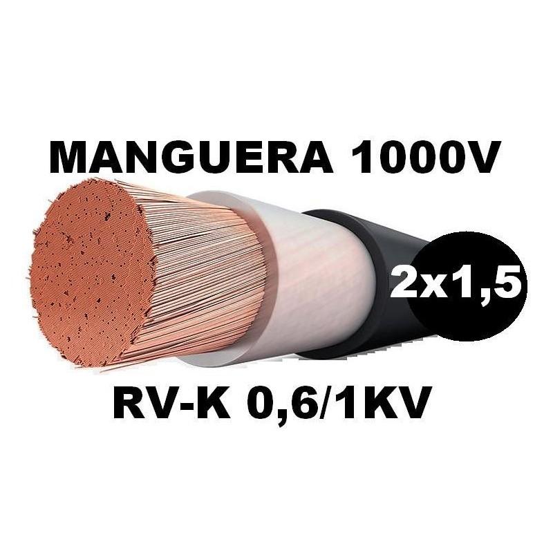 Manguera 1000v 2x1.5mm2 flexible pvc RV-K 0,6/1KV Al Corte
