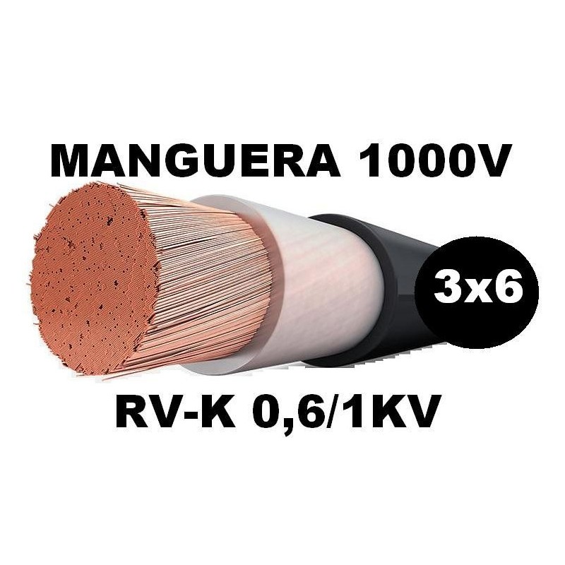 Manguera 1000v 3x6mm2 flexible pvc RV-K 0,6/1KV Al Corte
