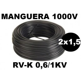 Manguera 1000v 2x1.5mm2 flexible pvc RV-K 0,6/1KV 100 Metros