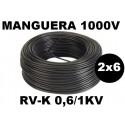 Manguera 1000v 2x6mm2 flexible pvc RV-K 0,6/1KV 100 Metros