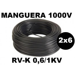 Manguera 1000v 2x6mm2 flexible pvc RV-K 0,6/1KV 100 Metros