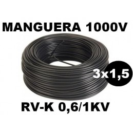 Manguera 1000v 3x1.5mm2 flexible pvc RV-K 0.6/1KV 100 Metros