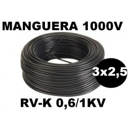Manguera 1000v 3x2.5mm2 flexible pvc RV-K 0,6/1KV 100 Metros