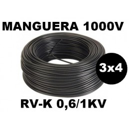 Manguera 1000v 3x4mm2 flexible pvc RV-K 0.6/1KV 100 Metros