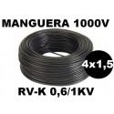 Manguera 1000v 4x1.5mm2 flexible pvc RV-K 0,6/1KV 100 Metros