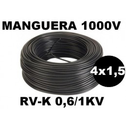 Manguera 1000v 4x1.5mm2 flexible pvc RV-K 0.6/1KV 100 Metros