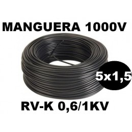 Manguera 1000v 5x1.5mm2 flexible pvc RV-K 0.6/1KV 100 Metros