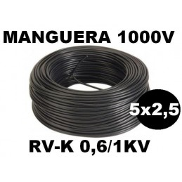Manguera 1000v 5x2.5mm2 flexible pvc RV-K 0,6/1KV 100 Metros