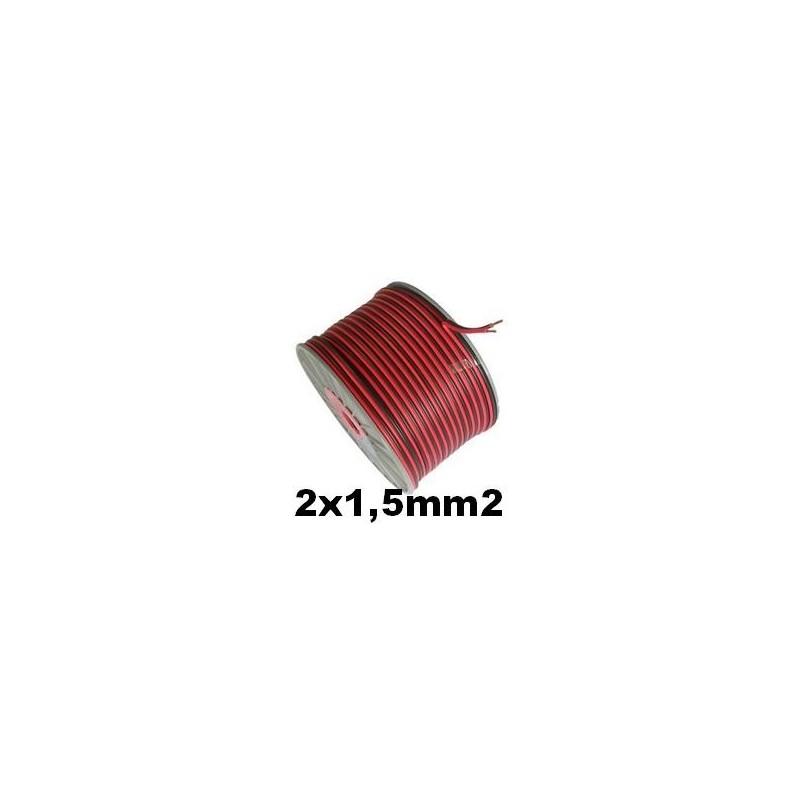 Cable paralelo bicolor 2x1.5mm2 rojo/negro 100 Metros