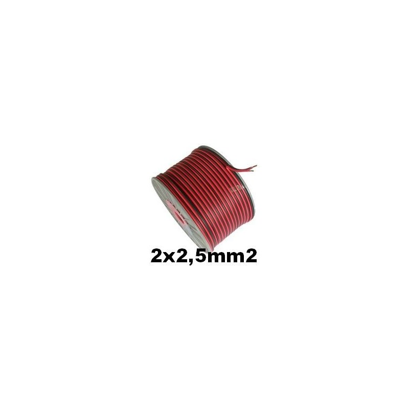 Cable paralelo bicolor 2x2.5mm2 rojo/negro 100 Metros