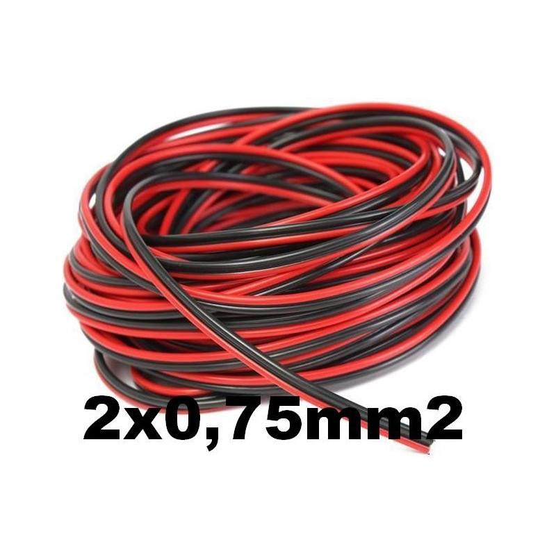 Cable paralelo bicolor 2x0.75mm2 rojo/negro Al Corte