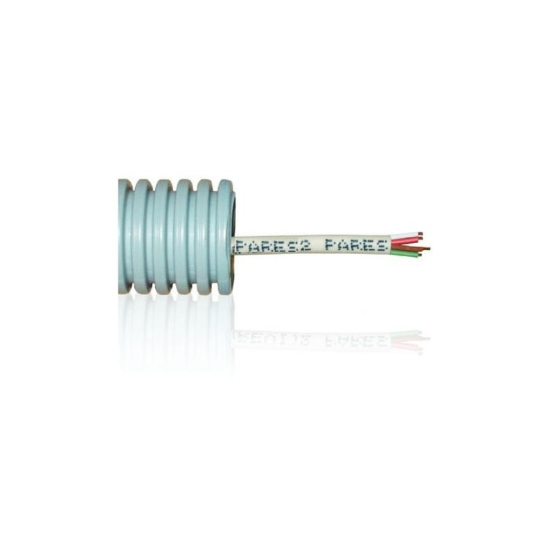 Tubo precableado 20mm + Cable de telefono 2 pares 2x2x0.51mm2 Rollo 50 Mts