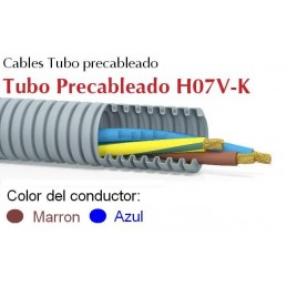 Tubo precableado 20mm + Cable flexible 750v 2x1.5mm2 a+m H07V-K Rollo 50 Mts