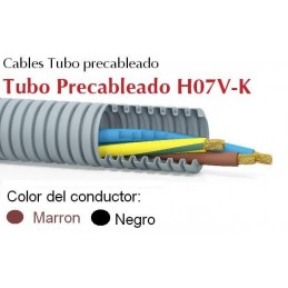 Tubo precableado 20mm + Cable flexible 750v 2x1.5mm2 n+m H07V-K Rollo 50 Mts