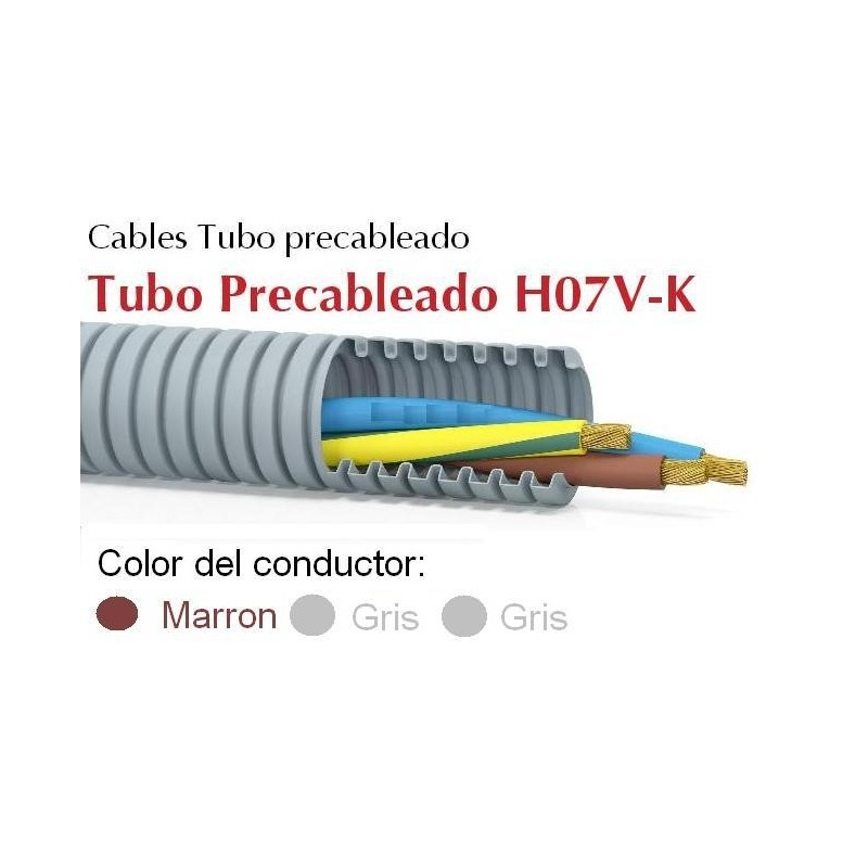 Tubo precableado 20mm + Cable flexible 750v 3x1.5mm2 g+g+m H07V-K Rollo 50 Mts