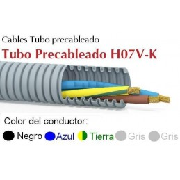 Tubo precableado 20mm + Cable flexible 750v 5x1.5mm2 a+n+t+g+g H07V-K Rollo 50 Mts