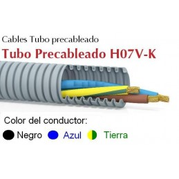 Tubo precableado 25mm + Cable flexible 750v 3x6mm2 a+n+t H07V-K Rollo 50 Mts