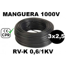 Manguera 1000v 3x2.5mm2 flexible pvc RV-K 0.6/1KV CE CPR 100 Metros