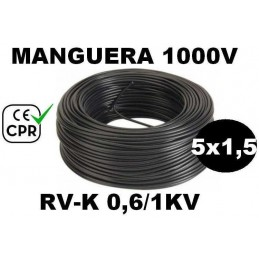 Manguera 1000v 5x1.5mm2 flexible pvc RV-K 0.6/1KV CE CPR 100 Metros