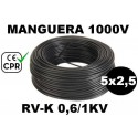 Manguera 1000v 5x2.5mm2 flexible pvc RV-K 0.6/1KV CE CPR 100 Metros