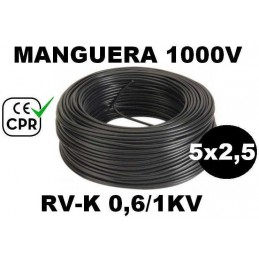 Manguera 1000v 5x2.5mm2 flexible pvc RV-K 0.6/1KV CE CPR 100 Metros