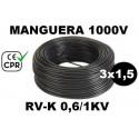 Manguera 1000v 3x1.5mm2 flexible pvc RV-K 0.6/1KV CE CPR 100 Metros