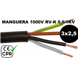 Manguera 1000v 3x2.5mm2 flexible pvc RV-K 0.6/1KV CE CPR Al Corte