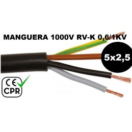 Manguera 1000v 5x2.5mm2 flexible pvc RV-K 0.6/1KV CE CPR Al Corte