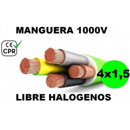 Manguera 1000v 4x1.5mm2 flexible libre halogenos RZ1-K AS 0.6/1KV CE CPR Al Corte