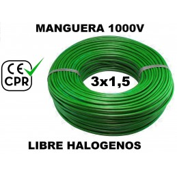 Manguera 1000v 3x1,5mm2 flexible libre halogenos RZ1-K AS 0.6/1KV CE CPR 100 Metros