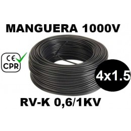 Manguera 1000v 4x1.5mm2 flexible pvc RV-K 0.6/1KV CE CPR 100 Metros