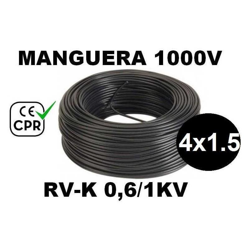 Manguera 1000v 4x1.5mm2 flexible pvc RV-K 0.6/1KV CE CPR 100 Metros