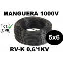 Manguera 1000v 5x6mm2 flexible pvc RV-K 0.6/1KV CE CPR 100 Metros