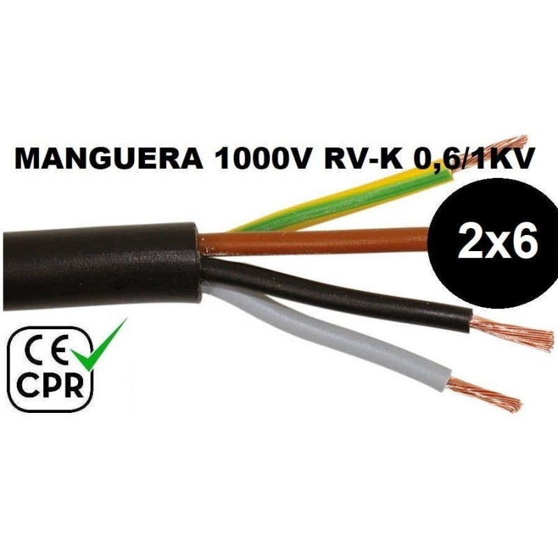 Manguera 1000v 2x6mm2 flexible pvc RV-K 0.6/1KV CE CPR Al Corte